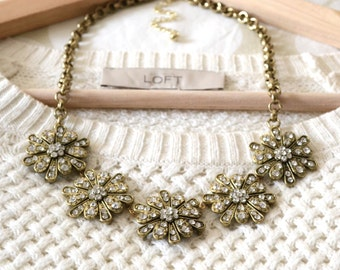 The Cecelia Statement Necklace, Gold Rhinestone Necklace Chunky Gold Chain, Statement Jewelry, Chunky Necklace, Bib Necklace, Gift for Her