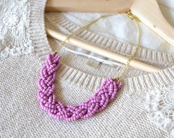 Beaded Braid Statement Necklace in Lavender, Light Purple Statement Necklace, Beaded Necklace, Purple Jewelry