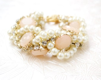 The Aubree Bridal Pearl Bracelet, Twisted Pearl Bridesmaid Bracelet, Blush Pink Wedding Jewelry, Bridesmaid Gift, Chunky Wedding Bracelet