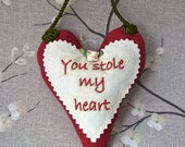Marriage Proposal Ring Box Victorian Style Heart Ornament Key holder I love You Padded Heart Gift Gothic Will You Marry Me red cream green