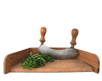 French Vintage Kitchen Set with Chopping Block and Herbs Chopper-Hachoir. French Country Kitchen. 1930