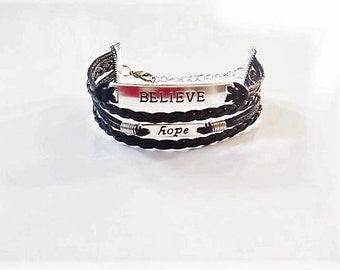 Believe Hope Black Cord Bracelet