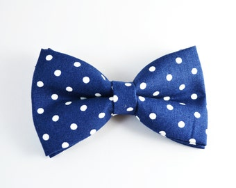 Navy with White dot bow tie /For baby/Toddler/Teen/Adult/with Adjust strap/Clip on