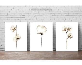 Shabby Chic Home Decor, Cotton Bolls Painting Set 3, Cotton Art Prints, Brown Taupe Beige White Wall Decor, Minimalist Watercolor Floral Art