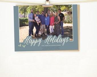 Holly Holiday Christmas Card - Printable File