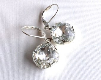 Clear Crystal Earrings, Silver Leverback Ear Wires, Square Sparkly Swarovski Crystals, Classic Drop Earrings, Wedding Jewelry