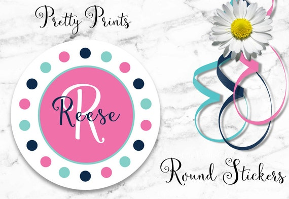 Personalized Stickers - Dots, Pink, Mint, Navy - Multi-colored - Set of 12 - Round Labels - Personalized Labels - Tags - Stickers