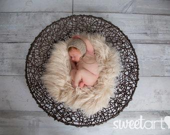 LATTE FAUX FUR Prop, Newborn / Baby Photo Prop, Layering Blanket,  Neutral Photo Prop, Posing Fabric, Fuzzy Layering Blanket.