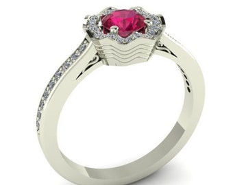 Wedding Rings, Diamond Anniversary Ring, Parisian Collection By Bridal Rings, Flower Inspired Engagement Ring, Natural Ruby Stone