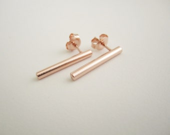 PINK gold ROD SATIN- roseplated rod Earrings satin finish