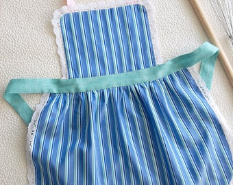 Mother and Child Cooking Apron, Kitchen Apron, Cute Girls Kids Pinny, Stripy Child Pinny, Mommy and Me Bib Apron, the Sound of Music Apron
