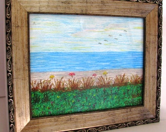 BEACH SCENE Original Pastel Painting Framed 18x15 No. 532