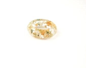 Eco Resin ring, Real Flower ring, Nature ring, flower jewellery, Pressed flower jewelry, Flower in resin, Botanical ring. Gold flakes