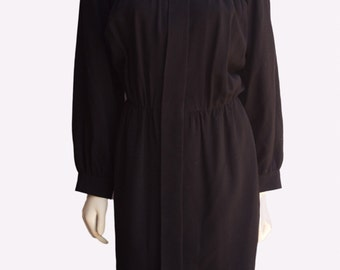 Saint Laurent 80's Vintage Black Wool Long Sleeve Shift Dress