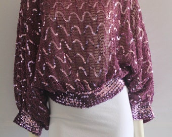 80's Vintage St. Martin Smoky Purple Batwing Sequin Blouse
