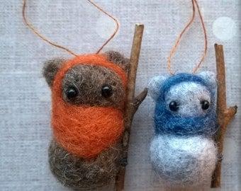 custom needle felted ewok ornament