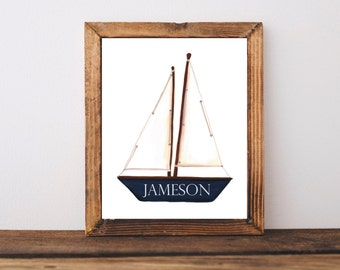 Sailboat Baby Name Sign | Nautical Nursery