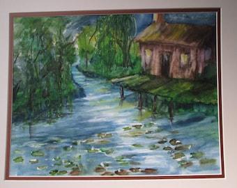 Louisiana Bayou Backwaters Cabin Original Watercolor