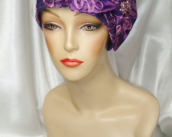 Purple Taffeta 1920s Cloche Hat, Great Gatsby and Downton Abbey Inspired