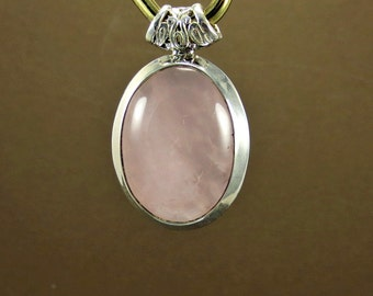 Rose Quartz Pendant Necklace, Pink Quartz Silver Pendant, Love Stone, Quartz Jewelry, Anniversary Gift