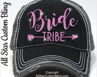 Glitter Bride Tribe Hat, Custom Bride Tribe Hat, Distressed Bride Tribe Baseball Hat