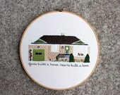 Custom Hand Embroidered House Portrait Hoop Art. 10 Inch Made To Order Home Embroidery. One of a Kind. Keepsake Gift. Family Heirloom.
