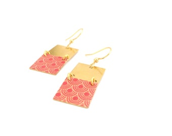 Retro look | Geometric gold earrings two squares - handmade