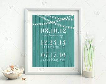 Important Dates PRINTABLE Wall Art - Personalized Anniversary Gift / Wedding Gift / Children Birth Dates / Wood Background You Choose Color