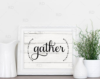 Gather - PRINTABLE Wall Art / Gather with laurels Wall Print / Gather Printable / Typography / 2 for 1 Printable / Autumn Print / Fall Print
