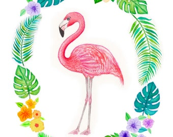 Flamingo art print, tropical art decor, nursery art, pink flamingo watercolor painting, bird tropical wall art, florida decor, florida art.