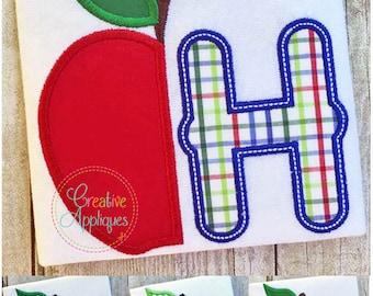 Apple Alphabet Letter Set A-Z Applique Machine Embroidery Design 4 Sizes