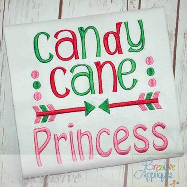 Candy cane princess digital machine embroidery design 4 for Princess cane