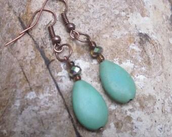boho earrings bohemian earrings Turquoise green stone teardrop earrings  stone earrings amber glass beads copper earrings bohemian earrings