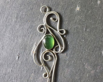 Sterling Silver Filigree and Serpentine  Pendant