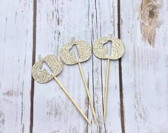 Pumpkin Cupcake Toppers - One Cake Topper - Pumpkin Cake Topper - First Birthday Pumpkin - Fall First Birthday - 1st Birthday