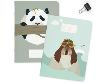 Pocket size Notebook - Panda & Walrus | A6 - 4.13 x 5.83""