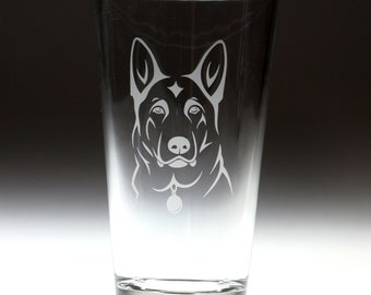 Custom personalized German Shepard  engraved glass , dog lover gift ,