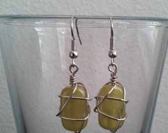 Wire Wrapped Beaded Green Dangle and Drop Earrings