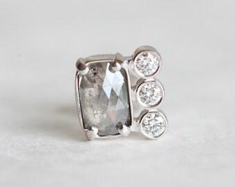 Diamond Earring, Rose Cut Diamond Earring, Rose Cut Diamond Stud, Grey Diamond Earring, Single Earring, Gold Diamond Stud Earring