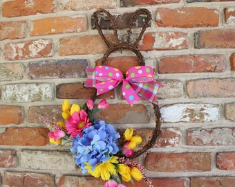 Bunny Wreath, Spring Floral Wreath, Easter Wreath
