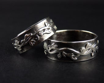 Vine Motif Wedding Bands, Sterling Silver Ring Vines and Flowers