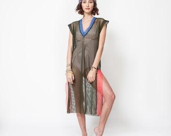 Beach Wear Mesh Dress.Hand Made Tunic .Bohemian Chic