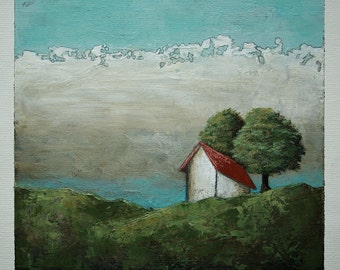 Landscape painting, barn painting, green trees, clouds, countryside, original art, 6 x 6 inches acrylic painting within 11 x 14 inches mount