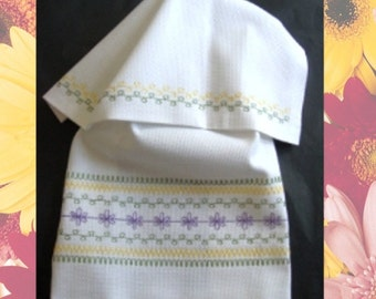 Spring, Huck Embroidery Towel Kit