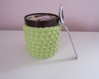 Ice Cream Cozy, Crocheted Pint Cover Sleeve, Lime Green, Small Basket, Reusable & Washable Ice Cream Holder, Get Well Gift, Stocking Stuffer