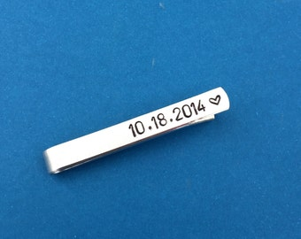 Date With Heart Hand Stamped Tie Bar, Husband Gift, Boyfriend Gift, Anniversary Gift, Long Distance Relationship Gift, Men's Gift, For Him