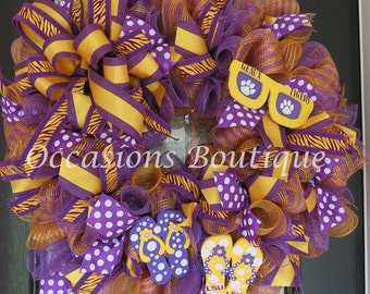 LSU Tigers Football Wreath, Summer Wreath, Front door wreaths, Double door wreath, Door Hanger, Fall Wreaths