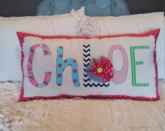 Ready to ship applique name pillow - Chloe