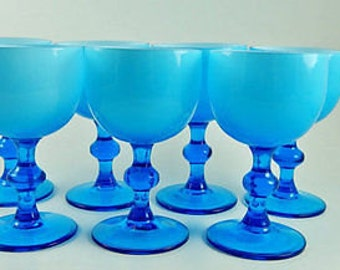 Murano Carlo Moretti Midcentury Cased Light Blue Cordial Glasses Set of 7