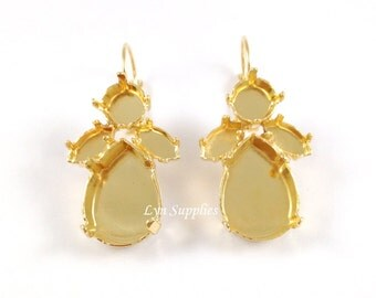 Gold Plated Mix Stones Earrings Settings Nickel Free Earrings Base Settings Leverback, Fits 18x13 Pear, 1088 ss39, 15x10mm Navettes 1 Pair